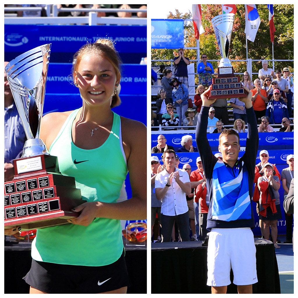 Félicitations à nos deux gagnants de la 32e édition des Internationaux de tennis junior Banque Nationale. Marta KOSTYUK (UKR) et Marko MILADINOVIC (SRB) [3].