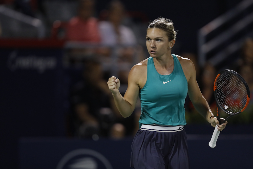 Halep in action in 2018